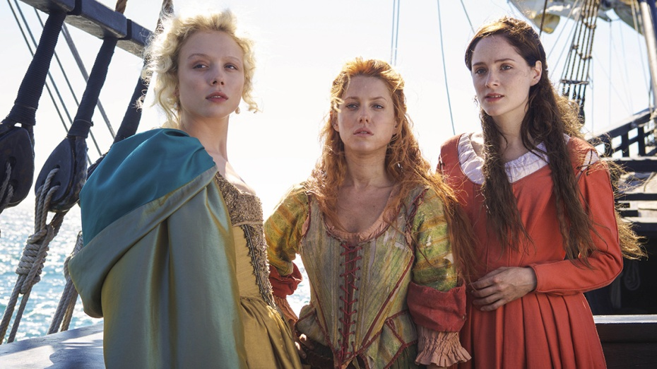 Picture of Alice, Verity and Jocelyn on their voyage to the settlement of Jamestown.
