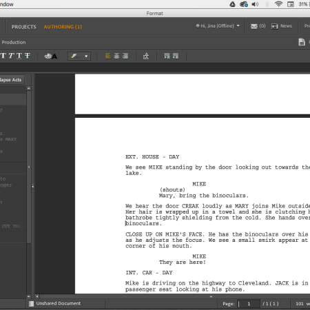 Screen Shot of Adobe Story CC workspace