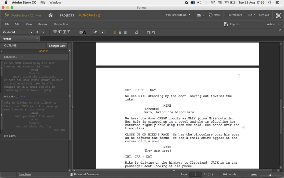Screen Shot of Adobe Story CC workspace