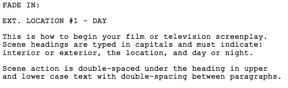 Screen Shot of script format by Matt Carless