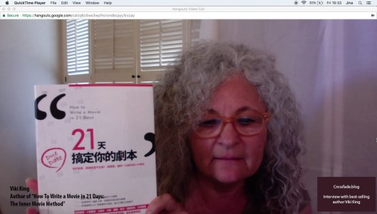 Screenshot of Viki King with International Cover of her book